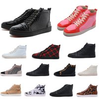 Wholesale Pink Floral Shoes - Unisex Luxury Mens & Womens Casual Shoes Leopard Snakeskin Red Bottom Genuine Leather fish grain Canvas Sneaker Lichee Pattern Buckle Strap