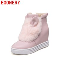Wholesale Cute Warm Boots Women - Wholesale- EGONERY shoes 2017 women ankle boots cute style lovely Rabbit's ears rabbit's hair decoration lady plush warm comfortable shoes
