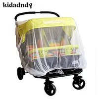 Wholesale Twins Trolley - Wholesale- High Density Anti-Mosquito Nets Twin Baby Stroller Children's Stroller Baby Car Twins Trolley Special Nets CMC127YD