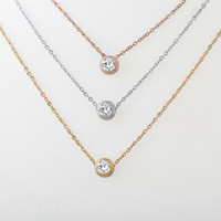 Wholesale Fashion Stainless Steel Jewelry Gold Silver Rose Plated Single Diamond Solitaire Pendant Necklace For Women