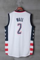 Wholesale Men Sleeveless Tops - #2 John Wall Mens Jerseys Top quality Size S-XXL Men Sport Jersey White