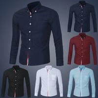 Wholesale Men Button Down Shirts Wholesale - Wholesale- Feitong Mens Casual Button Shirt Chemise Homme Slim Fit Long Sleeve Men Shirts Famous Brand Social Shirt Dress Shirts 5 Colors