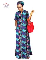 Wholesale Straight Maxi Dress - 2017 african styles clothing Women Riche Bazin Straight 100% Cotton Material Free Head Scarf Lady Long Dress Maxi Size WY843