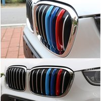 Wholesale Bmw Grille Emblem - Styling ABS Car Grille Stripe Sport M Grill Emblem Decal Sticker for BMW X1 F48 E84 2011 2012 2015 2016 2017