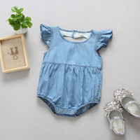 Wholesale 2017 Hight Quality Children s Wear Kids Washed Denim Baby Romper Heart Shape Back Toddler Baby Clothes Romper Girl