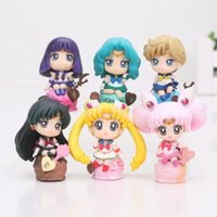 Wholesale Cake Set Toys - 6pcs set Sailor Moon Tsukino Usagi Tuxedo Mask Mercury Mars Jupiter Venus ice cream cake Ver. PVC Action figure toys set