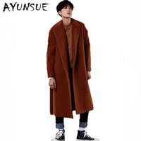 Wholesale Mens Vintage Wool Coat - Wholesale- X-Long Mens Wool Coat Men Cashmere Overcoat Turn-down Collar Belt Men's Winter Jacket Men Brand-Clothing Black Mens Coat WUJ1187