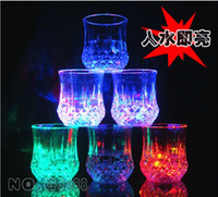 Wholesale Glow Cups Wholesale - Wholesale-New attractive Bar Party Decoration led glowing party glasses,plastic flashing drink party lights cup with battery 8pcs lot