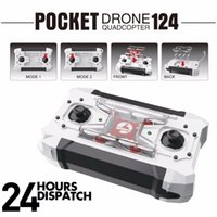 Wholesale Uav Models - Drone Quadrocopter FQ777-124 Pocket Drone 4CH 6Axis Gyro Quadcopter With Switchable Controller RTF UAV RC Helicopter Mini Kids Toys