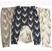 Wholesale straight figure resale online - Baby Clothes PP Pants Toddler Christmas Leggings Elk Fawn Haroun Pants Cotton Print Tights Deer Head Figure Trousers Child Causal Pants J459