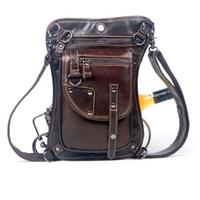 Wholesale Thigh Pack Waist Belt - Wholesale- Men's Cowhide Oil Wax Geunine Leather Waist Thigh Drop Leg Bag Messenger Cross Body Shoulder Belt Hip Bum Pack