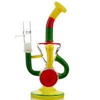 Wholesale Rainbow Glass Bowl - 2017 Handwork Rainbow Recycler Rigs with Bowl Hammerhead Perc Colorful Dab Rigs 14.5 mm Heady Glass Bongs WP492