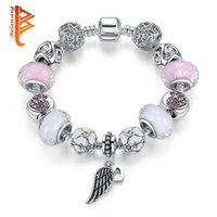 Wholesale Girls Bracelets Pink Crystal Beads - BELAWANG Pink&White Murano Glass&Crystal Bead Fit Original Heart Angle Wing Charm Bracelets For Women Girls Jewelry Gift Wholesale 18-20cm