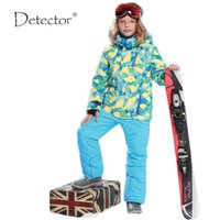 Wholesale Children Sporty Suit - Wholesale- Detector -30 Degree Children Outerwear Warm Coat Sporty Ski Suit Kids Clothes Sets Waterproof Windproof Boys Jackets For 5-16T