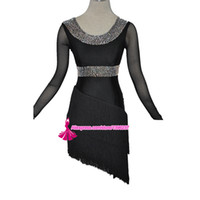 Wholesale new arrival latin dance dresses resale online - Adult Latin Competition Dance Skirt New Arrival Fringle Black Samba Chacha Latin Costume For Lady High Quality Latin Dress