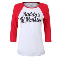 Wholesale Wholesale Shirts Tv - New hot Suicide Squad Harley Quinn Daddy's Lil Monster T Shirt 2016 Harley Quinn Cosplay Costume Women Tee