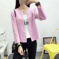 Wholesale Korean School Sweaters - Wholesale- Women Sweet Korean Clothing Short Sweater Female Casual Pink Wool Blends Knitted Cardigans Slim School Knitwear 2016 SW37