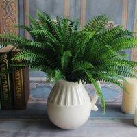 ingrosso lascia le piante-All'ingrosso-7 rami e 19 foglie di felce artificiale bouquet di seta verde piante foglie persiane falso fogliame per la decorazione domestica di nozze