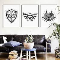 affiches de cinéma achat en gros de-Original Aquarelle Moderne Légende De Zelda -2 Logo Jeu Film Toile A4 Art Imprimer Affiche Mur Photos Home Decor Peinture No Frame