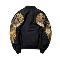 işlemeli askeri ceketler toptan satış-Sonbahar Kış Askeri MA1 erkek Bombacı Ceket Işlemeli Altın Kanatları Dış Giyim Erkek Moda Rahat Uçuş Uçan Ceket Kaban