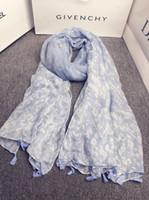 Wholesale Muffler Scarf For Men - Wholesale- Mori girls Japanese style fresh sweet long blue print scarf for women girls South Korea boho designer printed scarves muffler