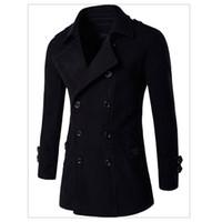 Wholesale Cool Wool Men Coat Winter - Wholesale- High Quality 2017 Top Sale Long Wool Coat Mens Wool & Blends Cool Winter Men Overcoats Slim Fit Winter Warm Wool Overcoats C105