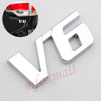 ingrosso accessori di accessori per auto esterne-Universal Car Truck Parts Trim V6 Emblema Logo Badge 3D Sticker Decal Metallo cromato Accessorio esterno Decorare