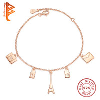 Wholesale Sterling Silver Adjustable Bangles - BELAWANG Rose Gold Tower Lovely Cat Shape Adjustable Bracelet 925 Sterling Silver Pendants Bracelet&Bangle New Arrival Jewelry Wholesale