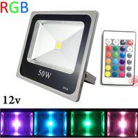 Wholesale 12v Outdoor Spotlight - RGB LED FloodLight 10W 20W 30W 50W LED Exterior Spotlight 12V LED Outdoor Light Reflector Spot Floodlight+24 key Remote Control