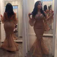 Wholesale Kim Kardashian Plus Size Evening Gowns - 2016 Sexy Champagne Kim Kardashian Evening Dresses Mermaid Off Shoudler Long Sleeves Crystal Sheer Plus Size Arabic African Formal Prom Gown