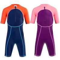 Wholesale Boys Surf Swim Suit - 4 colors children swimming race wear anti UV bodysuit one piece beach wear water sports swimming clothing surfing suit