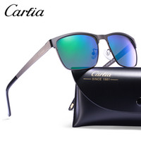 Wholesale Metal Half Frame Sunglasses - Carfia 5225 polarized sunglasses metal frame resin UV400 glasses sunglasses for men drive sun glasses with free case 58mm