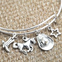Wholesale Wholesale Boot Bracelets - 12pcs Cowgirl inspired bracelet cowgirl boot Horse hat star charm bangle bracelet