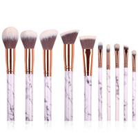 Wholesale Eye Stripe - New Arrival 10 Pcs Marble Stripe Pro Makeup Brushes Kits Blush Bulk Powder Eye Shadow Highlight Repair Capacity Brush