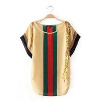Wholesale Striped Shirt Lady - Wholesale-2016 summer fashion brand women t shirt striped print ladies vintage chiffon casual t-shirts tops for women clothing Plus size