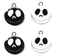 Wholesale Jack Nightmare Before Christmas Cartoon - Free shipping , 100pcs New Cartoon Nightmare Before Christmas Jack Metal Charm Pendant DIY Necklace Jewelry Making Black White