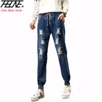 Wholesale Torn Women Jeans - Wholesale- 2017 Spring Women Jeans Ripped Denim Pants Jogger Jeans Fashion Holes Casual Trousers Torn Elastic Waist Plus Size Jeans Female