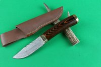 Wholesale Coolest Damascus Knife - Top Quality Damascus Fixed blade hunting knife Shadow wood handle Survial straight knife with leather sheath Cool knives