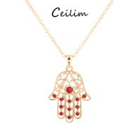 Wholesale Turquoise Gold Pendant Necklace - New fashion lucky gift jewelry hamsa hand pendant necklaces for women gold color red&white stone alloy link chain necklaces wholesale