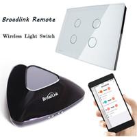 interruptor remoto livolo al por mayor-Broadlink mayor-RM2 Pro inteligente inteligente remoto IR + RF, Livolo 4Gang WiFi inteligente de pantalla táctil de interruptor de pared Light, Android y puede trabajar