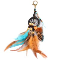 Wholesale Men Feather Ring - Handmade Dream Catcher Bag Key Chains Feathers Beads Key Ring Pendant Dream Catcher Key Chain Fashion Jewelry