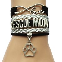 Wholesale Rescue Pets - Wholesale-Infinity Love Rescue Mom or Fur Mama Heart Charm Bracelet- Animal Dog or Cat Pet Puppy Leather Braid Handmade Friendship Gift