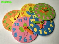 Wholesale Learning Jigsaw Puzzle Wholesale - Wholesale-1 Piece Kids DIY Eva Clock Learning Education Toys Fun Jigsaw Puzzle Game for Children 3-6 years old