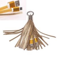 Wholesale Decoration For Ring - Fashion Tassels Charging Data Cable Portable Key Ring Micro USB Short Bag Decoration Chain Sync Quick Charge Cords Line For Samsung HTC