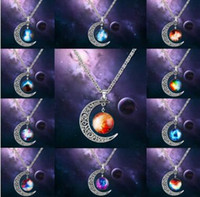 Wholesale gemstone swarovski resale online - Swarovski Starry Outer Space Universe Gemstone Silver Chain Moon Necklaces Pendant Galaxy Half Crescen Glass Moon Necklace