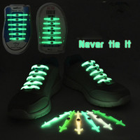 Wholesale glow tie - 12pcs set Christmas Gift No Tie Shoelaces Luminous LED Shoe Laces Disco Party Night Running Flash Light Up Glow Stick Strap Shoelaces