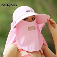 Wholesale Uv Hat Neck Protection - Wholesale- 2017 New Lady's Summer Anti-UV 360 Full Protection Adjustable Big Brim Face mask Neck Sun Bonnet Sun Hat Freeshipping