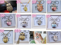 Wholesale Cute Owl Pendant Watch - 30pcs 10colors Cute Vintage Night owl Necklace Pendant Quartz Pocket Watch Necklace Owl Watches J015