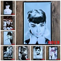 Wholesale Famous Paintings Posters - Andrey Hepburn Vintage Metal Tin Sign Famous Movie Star Celebrity Iron Painting Classical Tin Poster 20*30cm Bedroom Hotel Crafts Arts 4rjZ