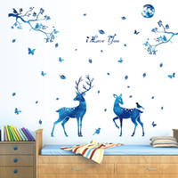 Wholesale Traditional Toys For Kids - 60 x 90cm Blue Starlight Deer Home Decor Wall Stickers Nordic Modern Guest Bedroom TV Background Fashion Decoration PVC Stickers Toys Gifts